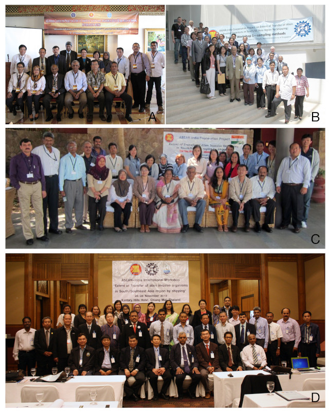 Participants at the mid-term review, training workshops and conference held during the course of the ASEAN-India Cooperation Project on 'Extent of Transfer of Alien Invasive Organisms in South/Southeast Asia Region by Shipping', 2010–2013.